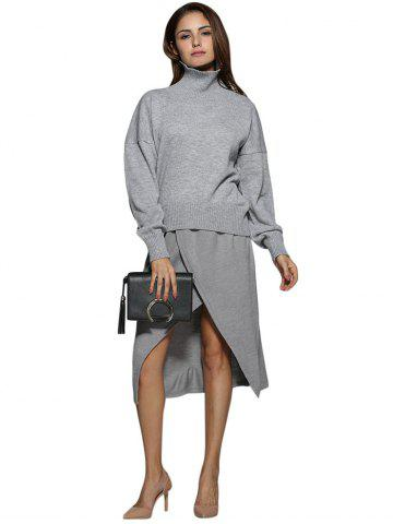Affordable Simple Turtleneck Pure Color Knitted Women Sweater GRAY M