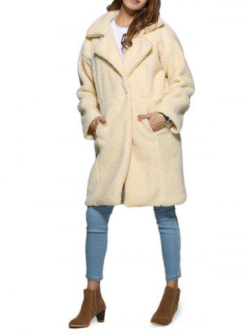 Stylish Turn Down Collar Pure Color Women Coat - Off-white - Xl