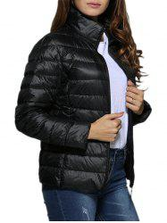 Simple Stand Collar Pure Color Women Down Coat -