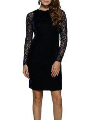 Long Sleeve Midi Lace Velvet Bodycon Dress