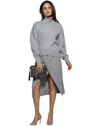 Simple Turtleneck Pure Color Knitted Women Sweater - GRAY M