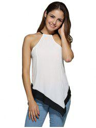 Sexy Halter Color Block Asymmetrical Women Tank Top -