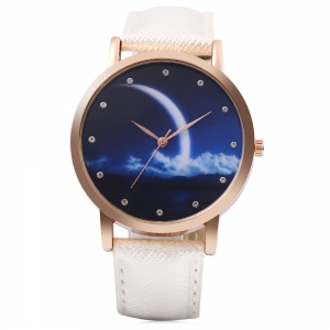 Fashion Female Quartz Watch Artificial Diamond Starry Sky Pattern Dial Wristwatch -