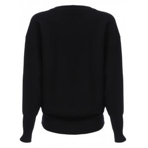Trendy Round Collar Criss-cross Long Sleeve Pure Color Warm Women Sweater -