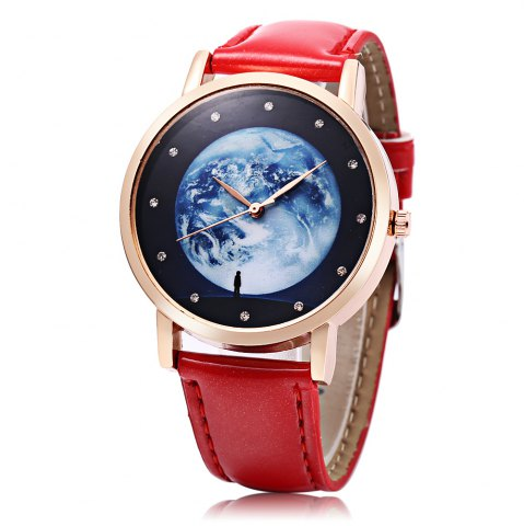 Outfit Fashion Female Quartz Watch Artificial Diamond Starry Sky Pattern Dial Leather Band Wristwatch
