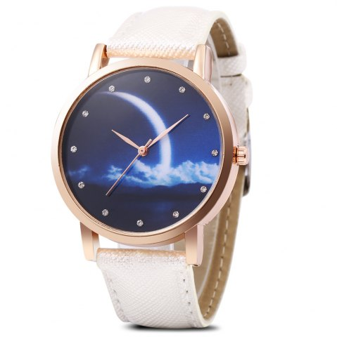 Unique Fashion Female Quartz Watch Artificial Diamond Starry Sky Pattern Dial Wristwatch