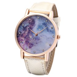 Chic Women Quartz Watch Artificial Diamond Starry Sky Pattern Dial Wristwatch