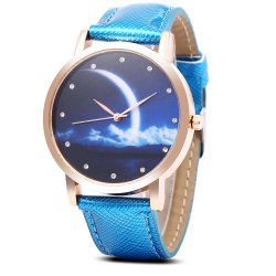 Fashion Female Quartz Watch Artificial Diamond Starry Sky Pattern Dial Wristwatch