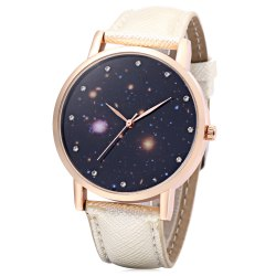Chic Female Quartz Watch Artificial Diamond Starry Sky Pattern Dial Wristwatch