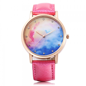 Fashion Female Quartz Watch Leather Band Artificial Diamond Starry Sky Pattern Dial Wristwatch -