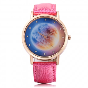 Fashion Women Quartz Watch Leather Band Artificial Diamond Starry Sky Pattern Dial Wristwatch -