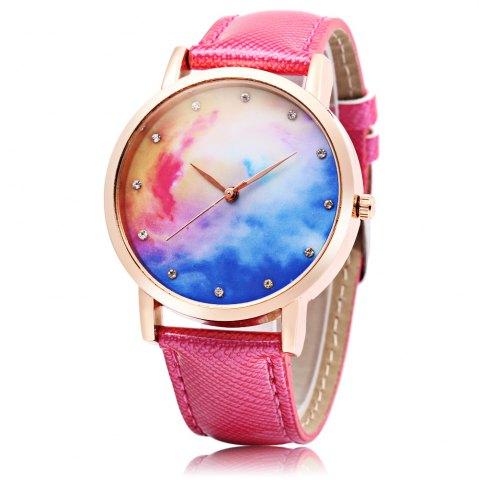 Unique Fashion Female Quartz Watch Leather Band Artificial Diamond Starry Sky Pattern Dial Wristwatch