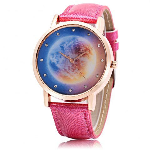 Discount Fashion Women Quartz Watch Leather Band Artificial Diamond Starry Sky Pattern Dial Wristwatch