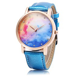 Fashion Female Quartz Watch Leather Band Artificial Diamond Starry Sky Pattern Dial Wristwatch