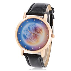 Fashion Women Quartz Watch Leather Band Artificial Diamond Starry Sky Pattern Dial Wristwatch