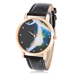 Vogue Women Quartz Watch Artificial Diamond Starry Sky Pattern Dial Leather Band Wristwatch
