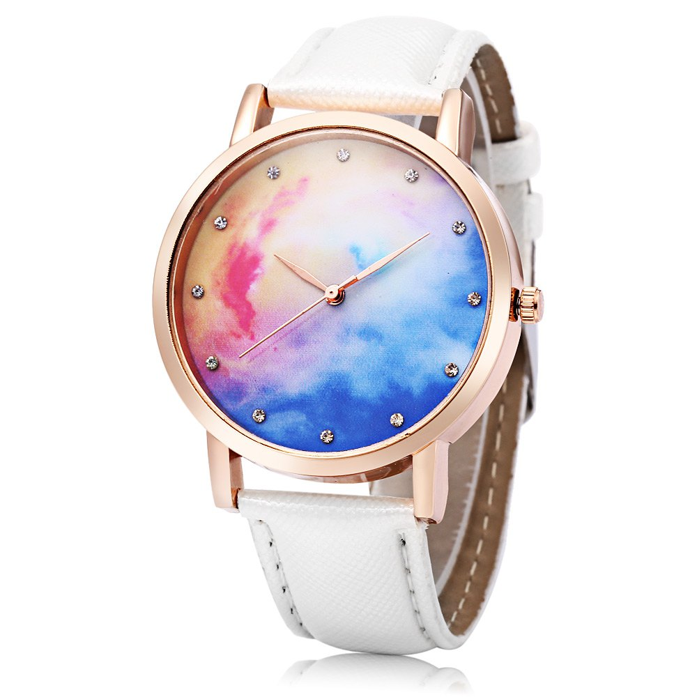 Shop Fashion Female Quartz Watch Leather Band Artificial Diamond Starry Sky Pattern Dial Wristwatch