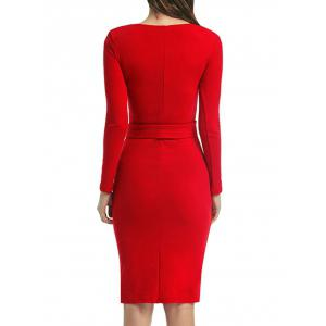 Long Sleeve Bodycon Dress With Slits - RED S