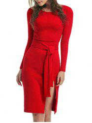 Long Sleeve Bodycon Dress With Slits -