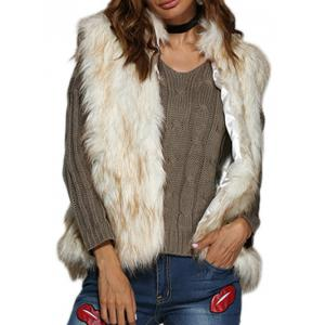 Chic Collarless Women Faux Fur Coat