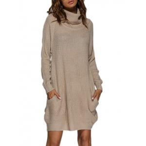 Polar Neck Jumper Dress with Pockets - Apricot - M
