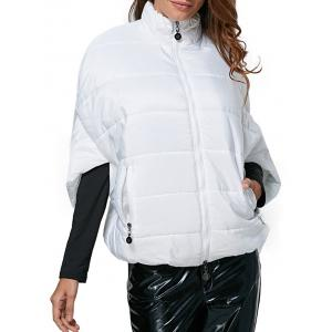 Novelty Turtleneck Side Pocket Women Down Coat - White - L