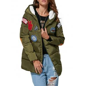 Trendy Hooded Patchwork Design Color Block Women Down Coat - Army Green - Xl