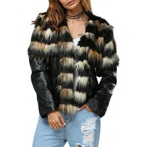 Trendy Round Collar Faux Fur Patchwork Design Women Coat