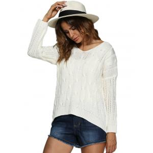 Brief Style V-Neck Knitted Loose-Fitting Women Pullover - WHITE ONE SIZE(FIT SIZE XS TO M)