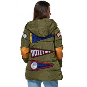 Trendy Hooded Patchwork Design Color Block Women Down Coat - ARMY GREEN L