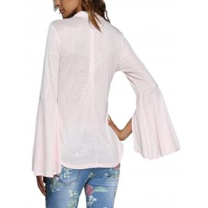 Sweet Round Collar Flare Sleeve Pure Color Women Blouse -