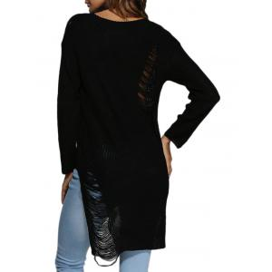 Brief Round Collar Frayed Pure Color Asymmetrical Women Pullover - BLACK M