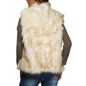 Chic Collarless Women Faux Fur Coat - WHITE GREY M