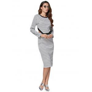 Casual Round Collar Cut Out Striped Cotton Blend Women Dress -