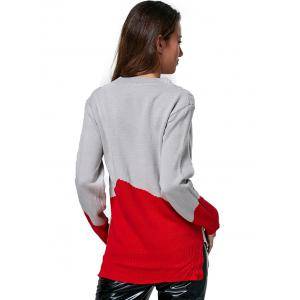 Fashionable Round Collar Color Block Women Pullover - GRAY ONE SIZE(FIT SIZE XS TO M)