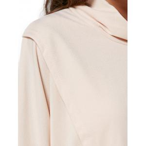 Brief Style Turtleneck Loose-Fitting Women Wrap T-Shirt -