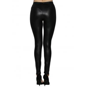 High Waist Faux Leather Skinny Pants - BLACK S