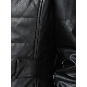 Chic Round Collar Faux Leather Fur Spliced Women Jacket -