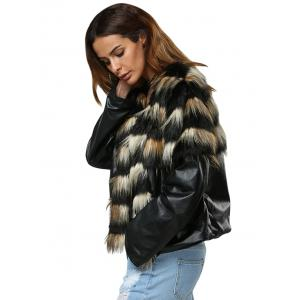 Trendy Round Collar Faux Fur Patchwork Design Women Coat -