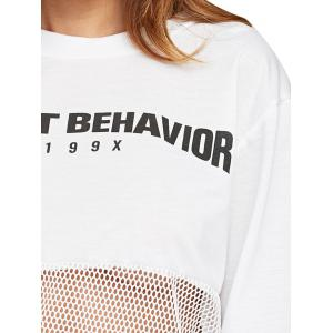 Casual Round Collar Letter Print Sheer Women Sweatshirt -