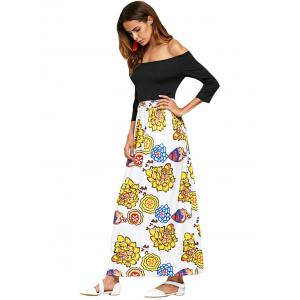 Stylish Off The Shoulder Floral Spliced Women Ankle Length Dress -