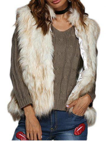 Chic Collarless Women Faux Fur Coat - White Grey - L