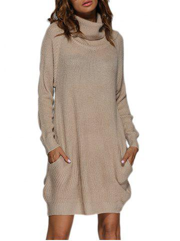 Affordable Polar Neck Jumper Dress with Pockets APRICOT M