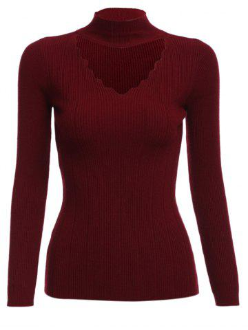 Discount Trendy Cloth Necklace V-neck Long Sleeve Pure Color Women Woolen Sweater