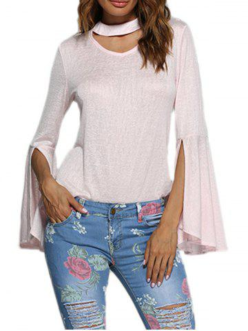 Shops Sweet Round Collar Flare Sleeve Pure Color Women Blouse