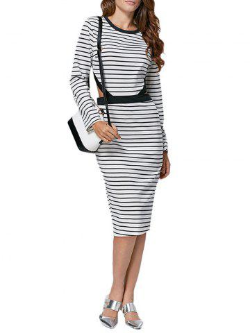 Best Casual Round Collar Cut Out Striped Cotton Blend Women Dress