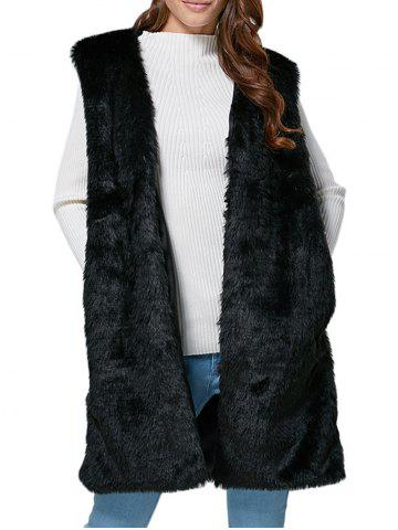 Chic Collarless Chunky Faux Fur Women Waistcoat - Black - Xl