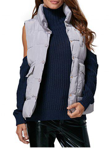 Outfits Brief Turtleneck Front Pocket Button Closure Women Down Waistcoat