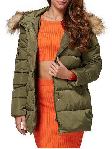 Affordable Chic Hooded Fur Collar Pure Color Zipper Women Down Coat