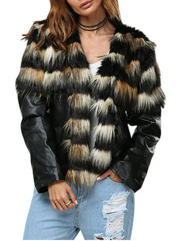New Trendy Round Collar Faux Fur Patchwork Design Women Coat